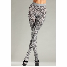 Woven Grey Leopard Pantyhose