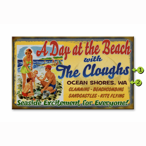 A Day at the Beach Name Personalized Sign - 18 x 30