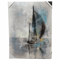 Abstract Blue Sailboat Canvas Wall Art