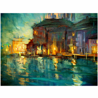 Abstract Coastal Village Canvas Art