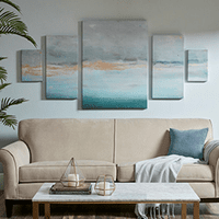 Abstract Sea Gold Foil Canvas Art - 5pcs