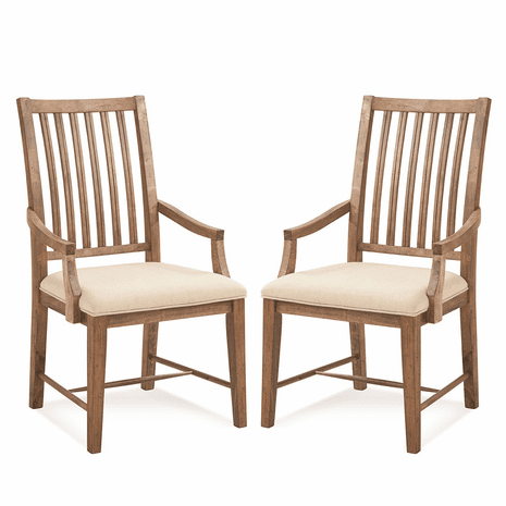 Acorn Brown Mission Arm Chairs - Set of 2