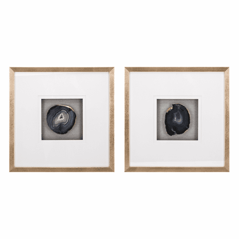 Agate Slice Shadowboxes - Set of 2