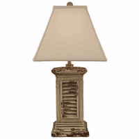Aged Cottage Square Shutter Pot Table Lamp