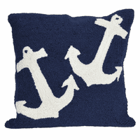Ahoy Anchors Blue Indoor/Outdoor Pillow