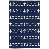 Ahoy Anchors Blue Indoor/Outdoor Rug Collection
