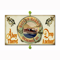 Ahoy There Drop Anchor Motorboat Personalized Signs