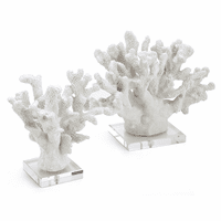 Alabaster Coral Statuaries - Set of 2