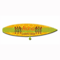 Aloha Surfboard Wood Personalized Sign - 12 x 44