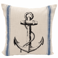 Anchor and Rope Feed Sack Pillow
