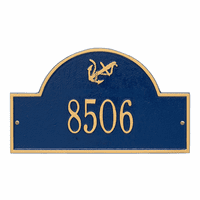 Anchor Arch House Number Plaque - Blue & Gold