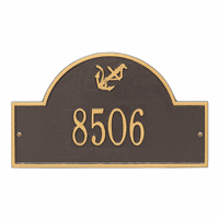 Anchor Arch House Number Plaque - Bronze & Gold