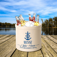Anchor Lake House Personalized Crock - Dark Blue