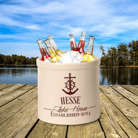 Anchor Lake House Personalized Crock - Red