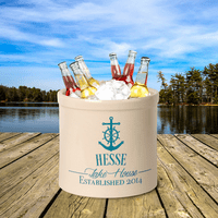 Anchor Lake House Personalized Crock - Sea Blue