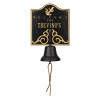 Anchor Personalized Bell Welcome Plaque - Black & Gold