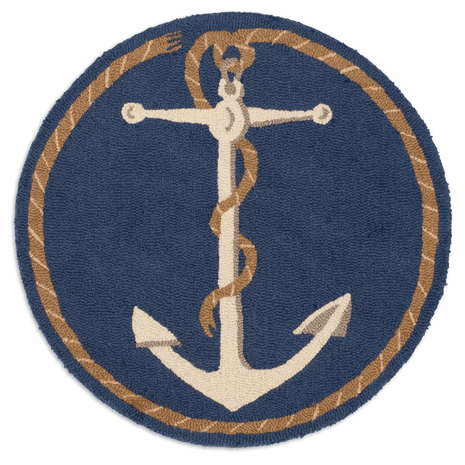 Anchor Round Hooked Wool Rug