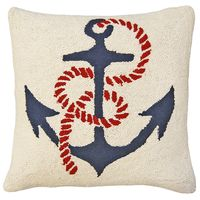 Anchor's Away Hooked Wool Pillow