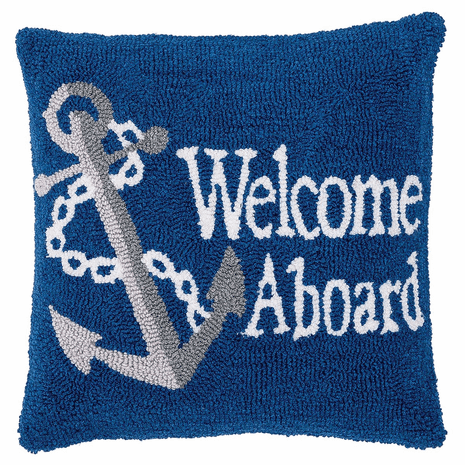 Anchor Welcome Hooked Pillow