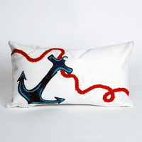 Anchor White Pillow - 12 x 20