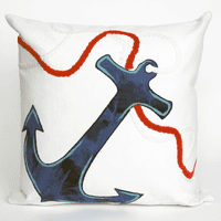 Anchor White Pillow - 20 x 20