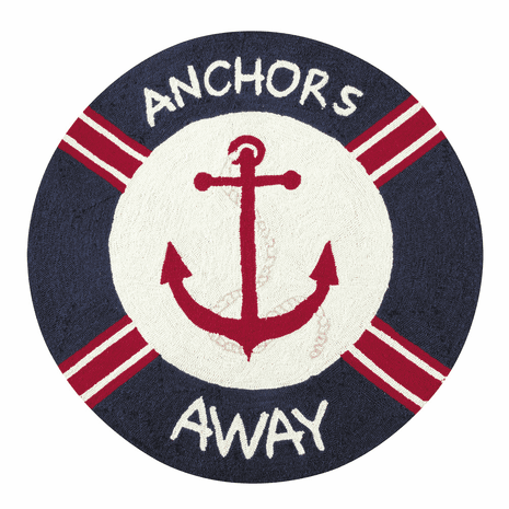 Anchors Away Hooked Round Rug