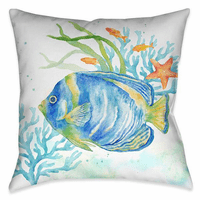 Angelfish Adventure 18 x 18 Outdoor Pillow