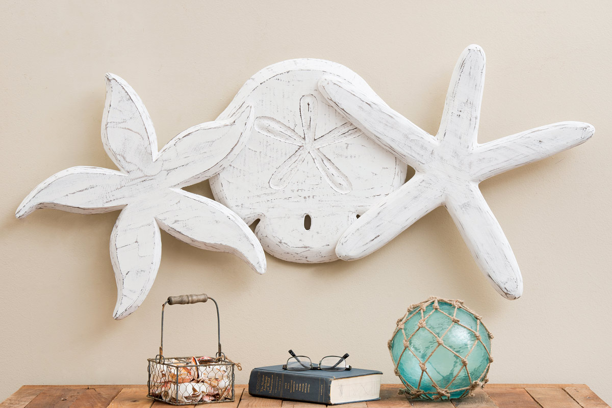 Beach Wall Art Antique Sand Dollar And Starfish Wall Hanging