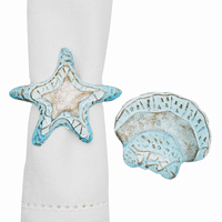 Aqua Capiz Shells Napkin Rings - Set of 6
