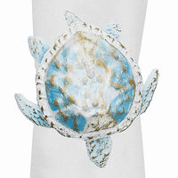 Aqua Capiz Turtle Napkin Rings - Set of 6