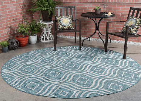 Aqua Ikat Indoor/Outdoor Rug - 8 Ft. Round