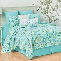 Aqua Paisley Quilt Set - Full/Queen