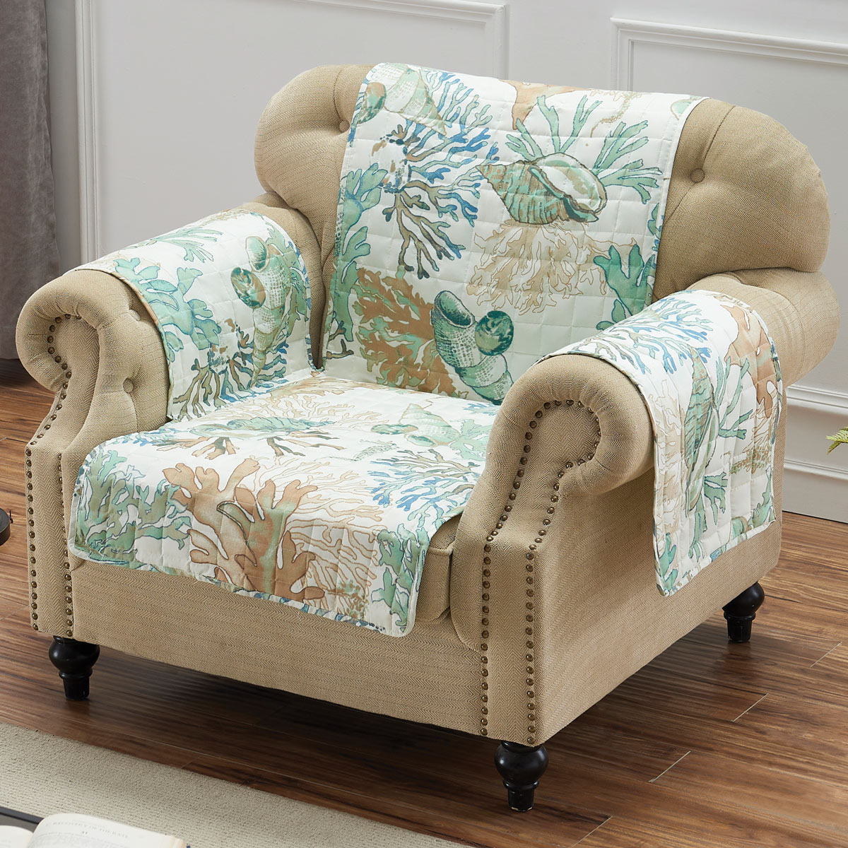 Coral Reef and Shells Chair Slipcover Protector