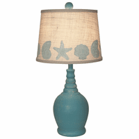 Aqua Ribbed Neck Accent Lamp with Shell Shade