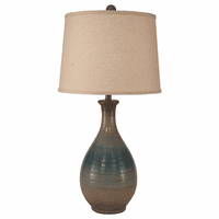 Aqua & Tan Ridged Teardrop Table Lamp