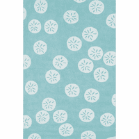 Aqua & White Sand Dollar Indoor/Outdoor Rug Collection