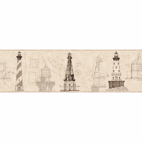 Architectural Lighthouse Wallpaper Border - Tan