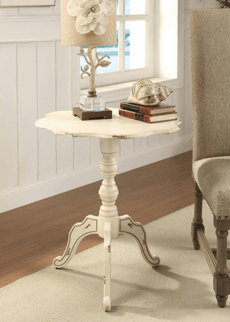 Ashleigh Scalloped Antique White Accent Table