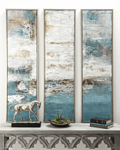 Azure Waves Framed Oil Painting Triptych