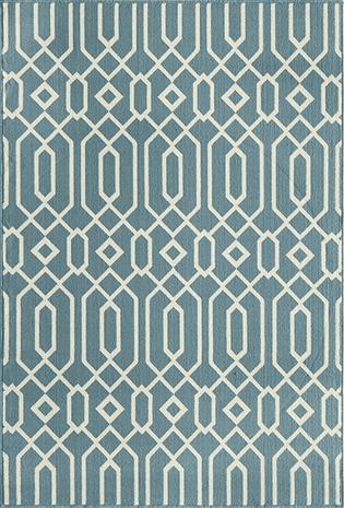 Baja Diamond Geo Blue Rug - 2 x 4