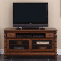 Bamboo Motif Brown Media Cabinet