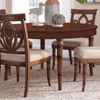 Bamboo Motif Brown Round Wood Dining Table
