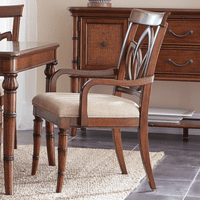 Bamboo Motif Brown Square Back Arm Chairs - Set of 2