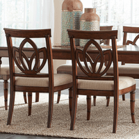 Bamboo Motif Brown Square Back Side Chairs - Set of 2