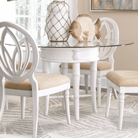 Bamboo Motif White Glass Top Dining Table