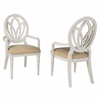 Bamboo Motif White Round Back Arm Chairs - Set of 2