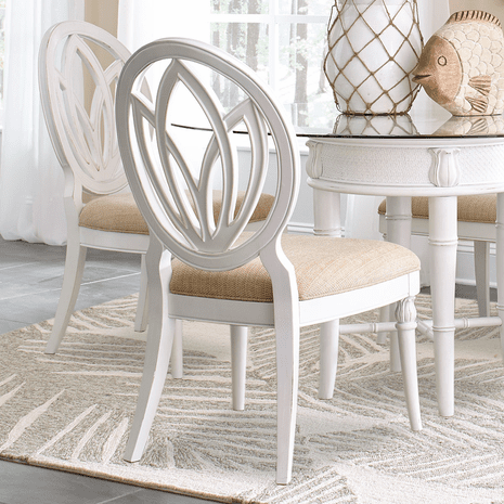 Bamboo Motif White Round Back Side Chairs - Set of 2