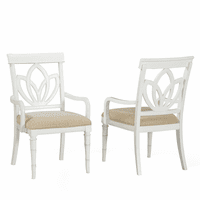 Bamboo Motif White Square Back Arm Chairs - Set of 2