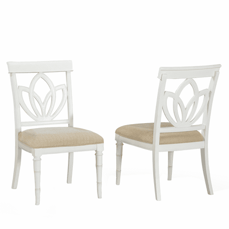 Bamboo Motif White Square Back Side Chairs - Set of 2