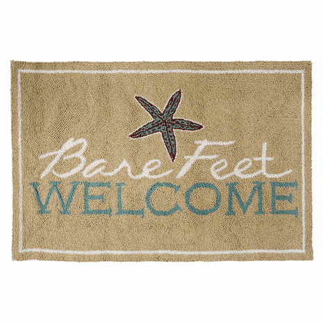 Bare Feet Welcome Hooked Wool Accent Rug